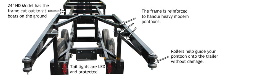 center lift pontoon trailer features