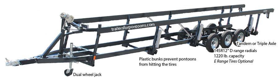 Crank Triple Tube Center Lift Pontoon Boat Trailers